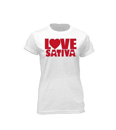 Love Sativa on White Crew Neck