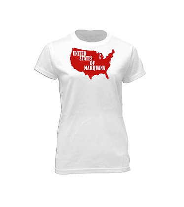 Fire Red On White Crew Neck Tee