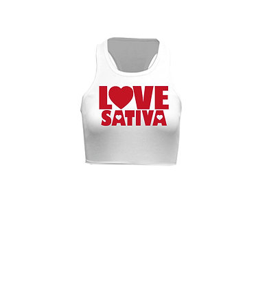 Love Sativa on White Racerback Crop Top