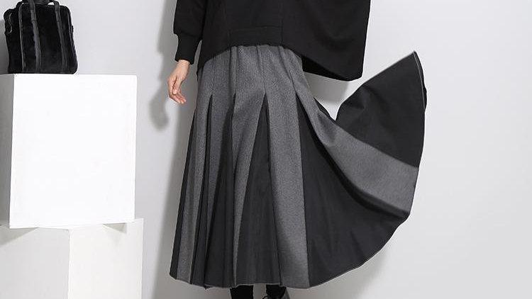 Nadab Peek Pleat Skirt - Gray