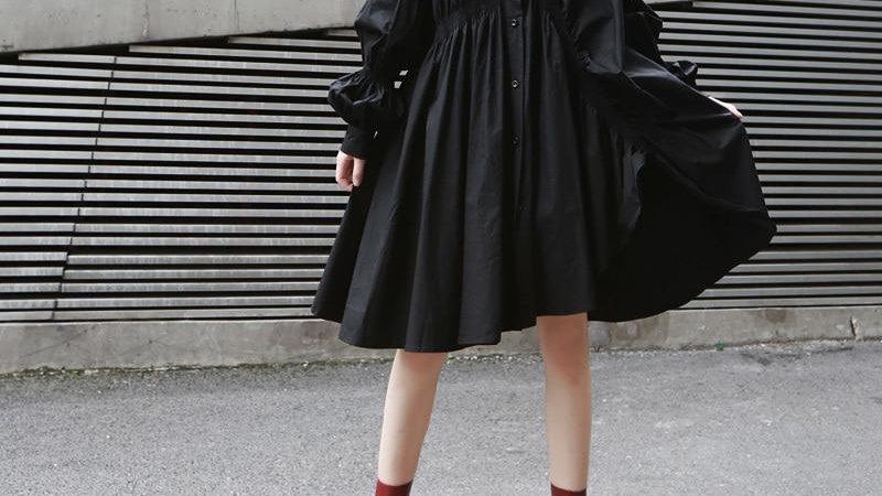 Hotaru Long Sleeve Pleated Shirt Dress - Black