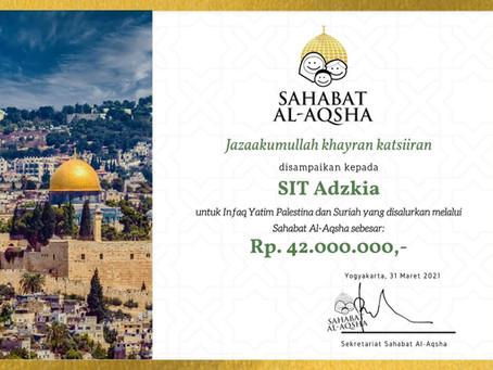 SIT Adzkia bersama Adzkia Charity melalui Sahabat Al-Aqsha Salurkan Dana Peduli Al-Aqsha dan Suriah