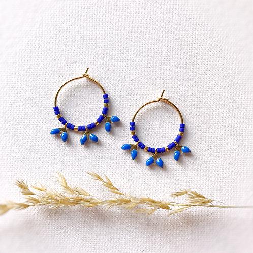 Orecchini con perle Miyuki e Foglioline smaltate - KLEIN BLUE