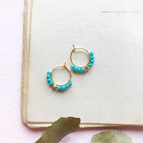 Micro anelle con rocailles e boule centrale -TURCHESE