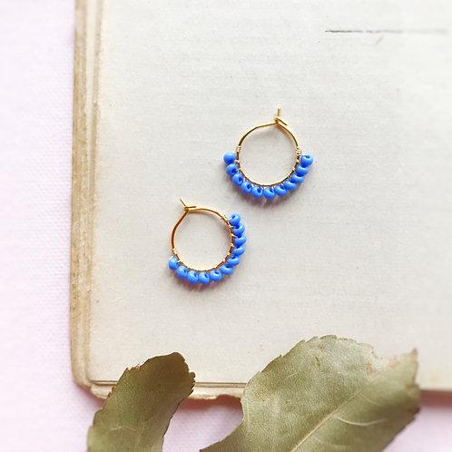 Micro anelle con rocailles - COBALTO