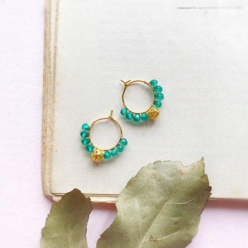 Micro anelle con cristalli e boule centrale - VERDE SMERALDO