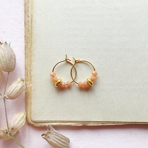 Micro orecchini con cristalli Pesca