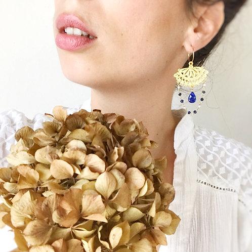 Pendulia con Filigrane, Lapislazzuli e Perle di Fiume coltivate