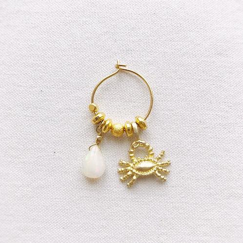 Monorecchino Amuleto Kali - Cancro e goccia di Opale