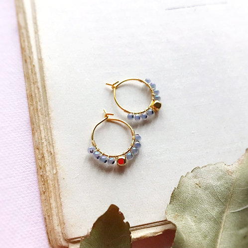 Micro anelle con rocailles e boule centrale - POLVERE