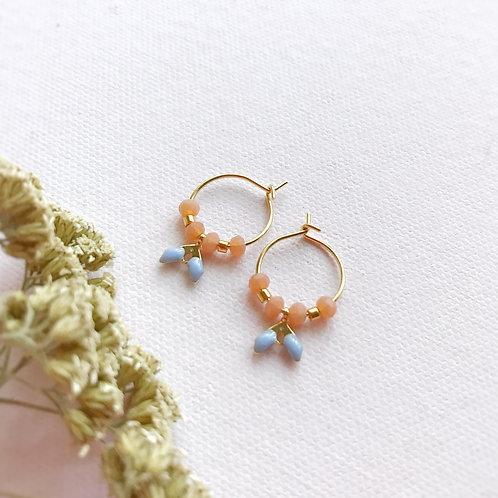 Micro orecchini con cristalli Pesca e foglioline Lavanda