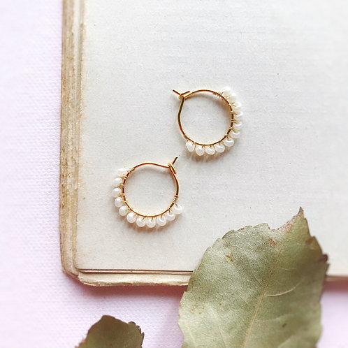 Micro anelle con rocailles - BIANCO PERLA
