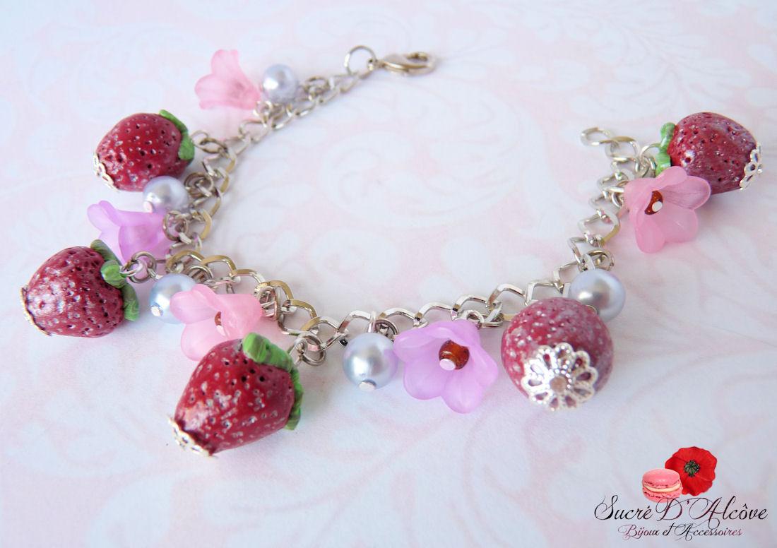 Bracelet gourmand fraise (3)