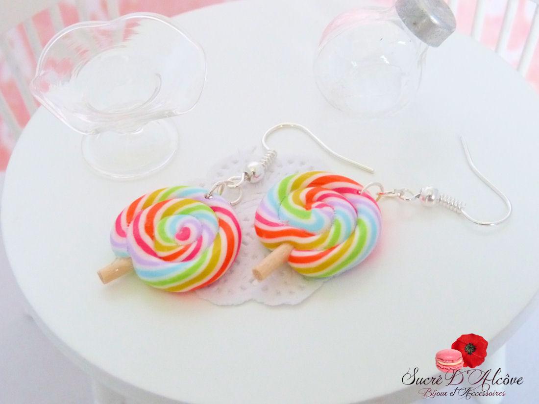 Boucles d'oreilles gourmandes sucettes lolipops (1)