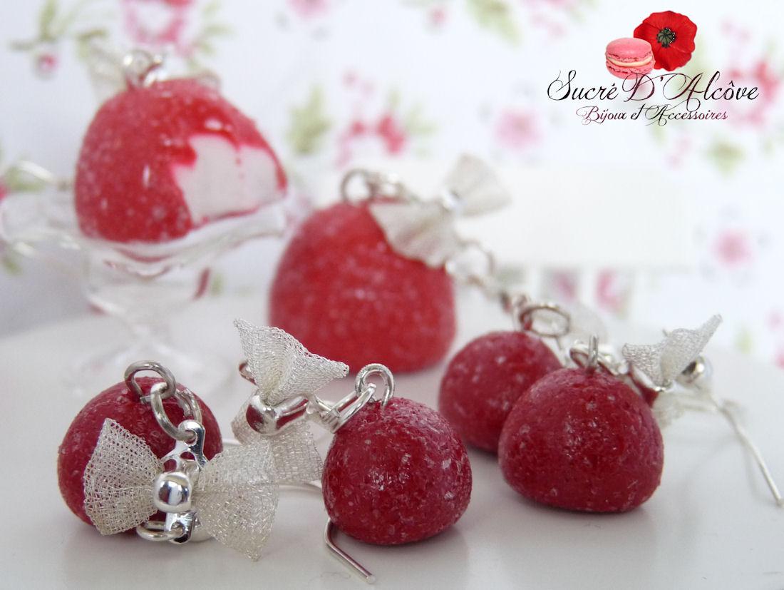 Boucles d'oreilles gourmande fraise tagada (4)