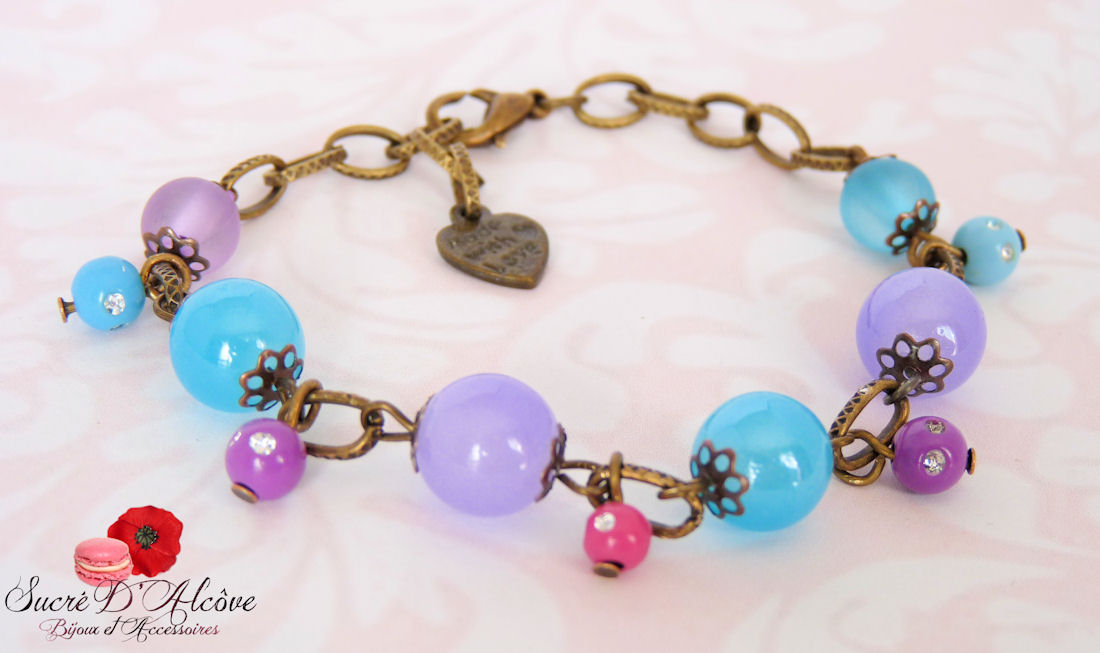 Bracelet mauve & bleu (4)