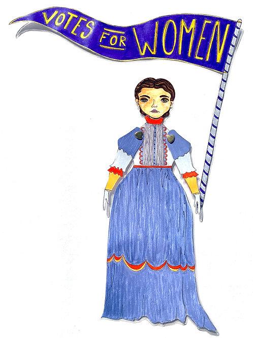 Leading Lady Alice Stone Blackwell Paper Doll Pattern by Artist Jen Haefeli