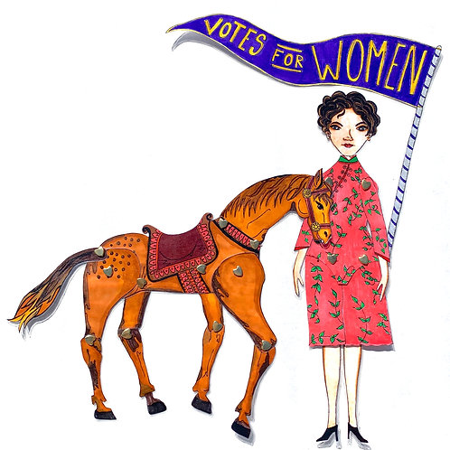 Horse for Leading Lady Mabel Ping-Hua Paper Doll Pattern by Artist Jen Haefeli