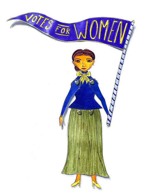 Leading Lady Dr. Susan La Flesche Picotte Paper Doll Pattern Hand Drawn by Artist Jen Haefeli