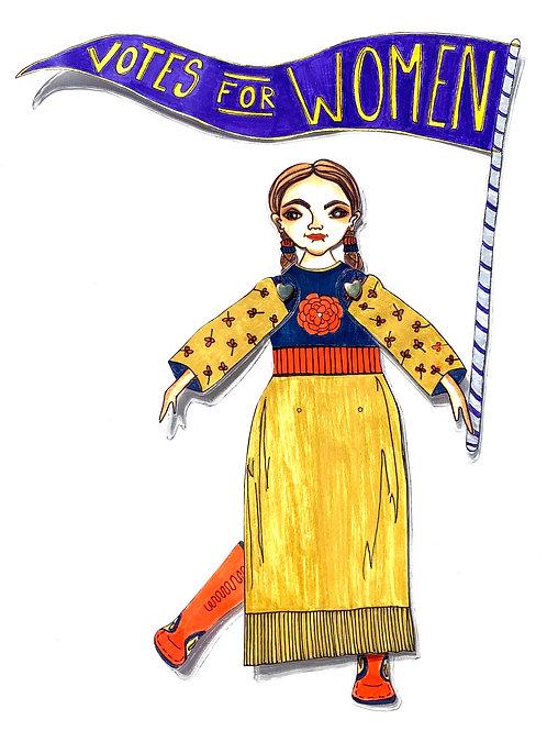 Leading Lady Marie Louise Bottineau Baldwin Paper Doll Pattern Hand Drawn by Artist Jen Haefeli
