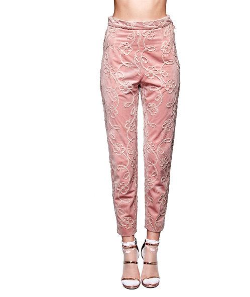 Pantalone rosa ricamato