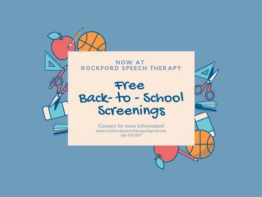 Back to School Screens at Rockford Speech
