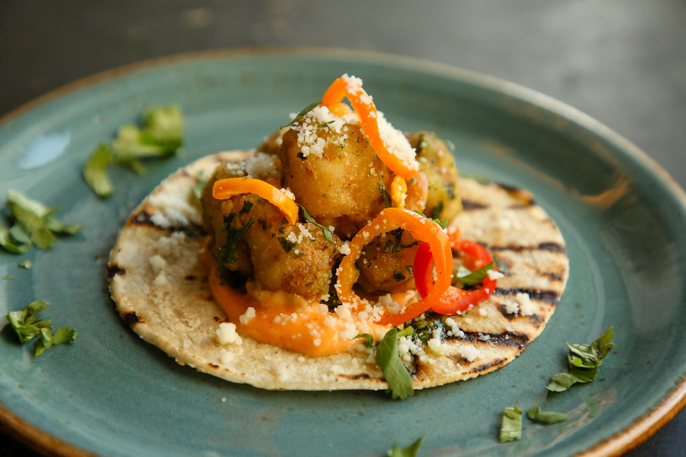 Tequila-Battered Cauliflower Tacos with Chimichurri and Chipotle Mayonnaise
