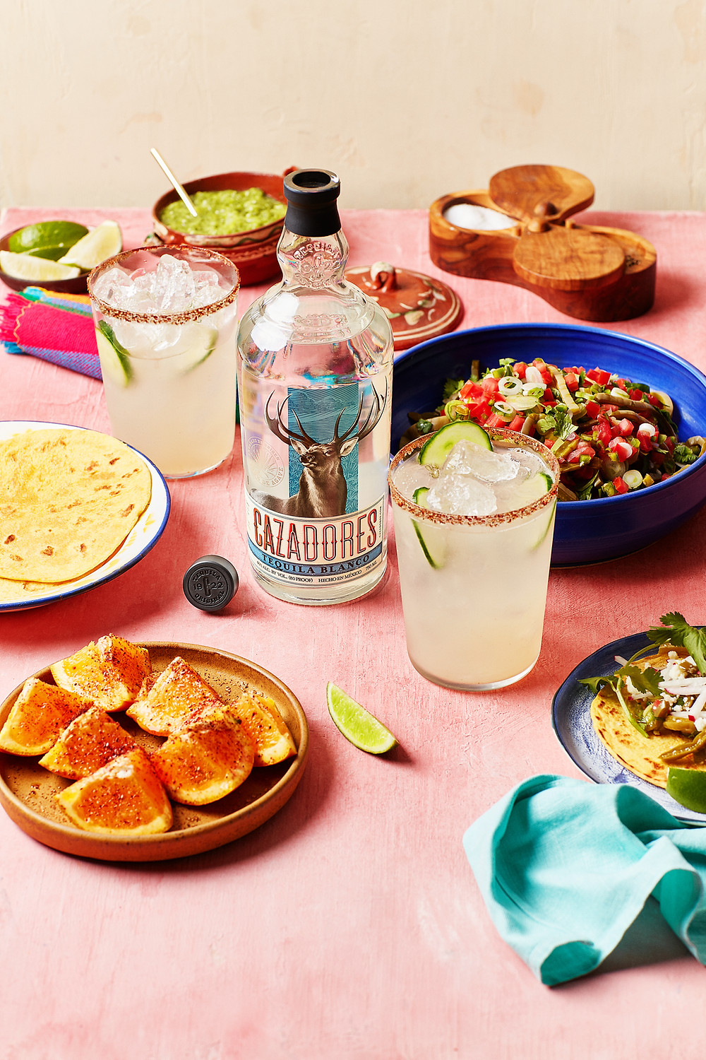 Nopales Tacos and Tequila Cazadores Hermosa Paloma