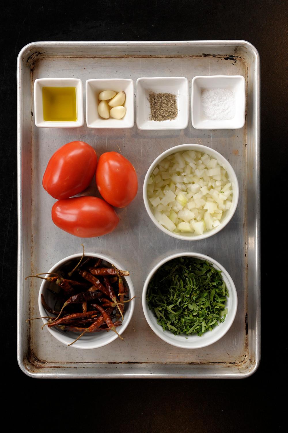 Roasted Tomato-Chile de Arbol Salsa Ingredients