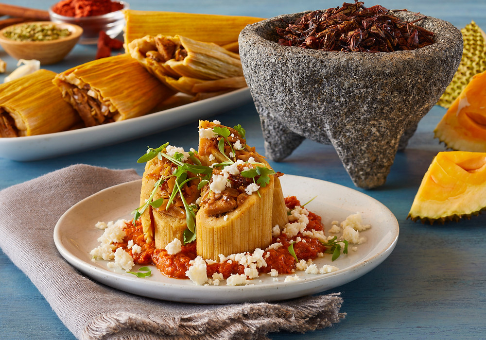 "Jackfruit ""Carnitas"" Tamales with Chapulines Salsa"