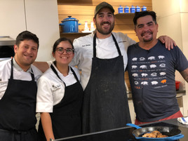 Alejandro (2019) and Yan (2019) helping at Chef Aarón's class at De Gustibus in New York, NY