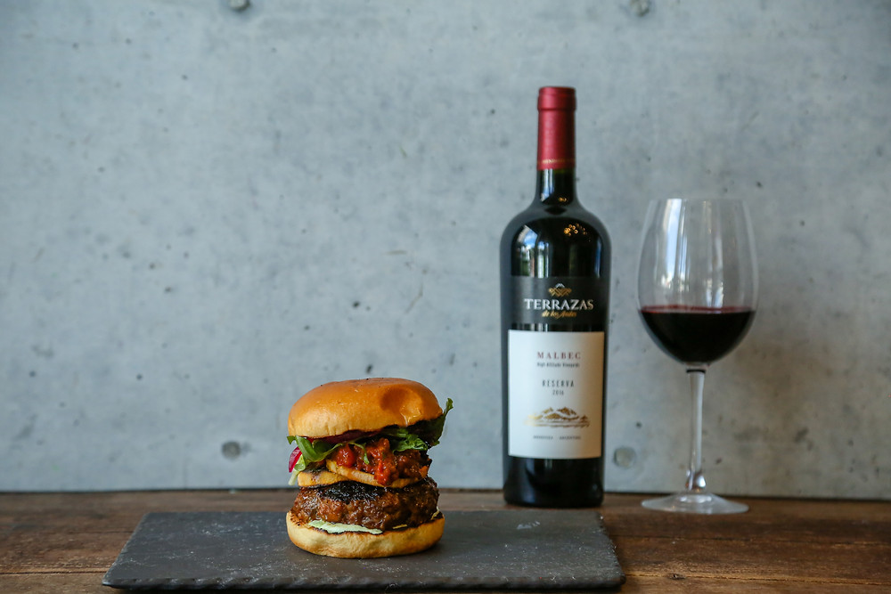 Chorizo and Beef Burger with Terrazas de los Andes Reserva Malbec