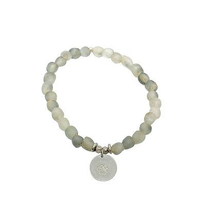 Grey Glass Charm Bracelet