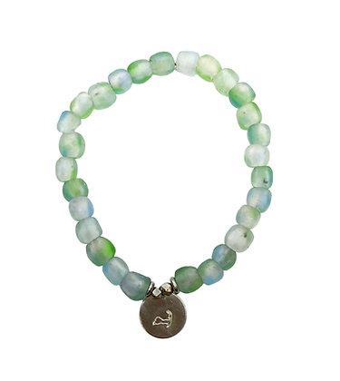 Blue-Green Swirl Glass Charm Bracelet