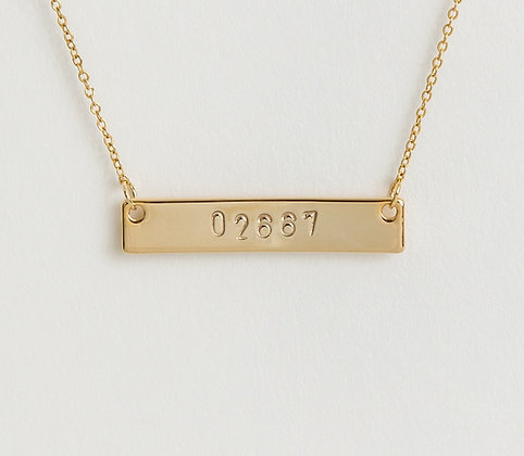 Zip Code Bar Necklace