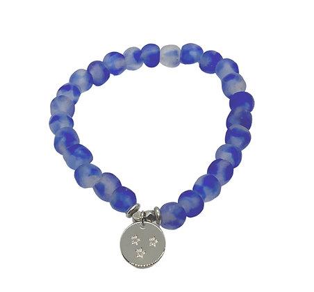 Blue Swirl Glass Charm Bracelet