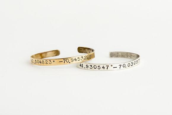 Latitude and Longitude Cuff Bracelet