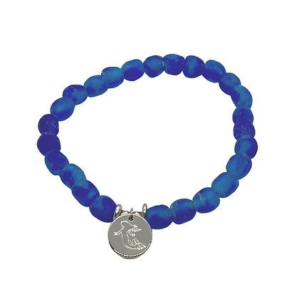 Ocean Blue Swirl Glass Charm Bracelet