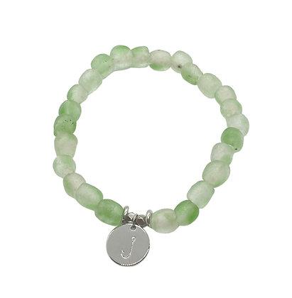Green Swirl Glass Charm Bracelet
