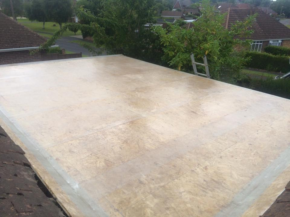 The Team at MD Roofline have done all they can for today but here is the same roof with the crystic premier Grp cover ready for topcoat when it has cured...