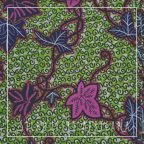 Fabric by the Yard: Green, Pink, and Black Leaves African  Ankara Fabric