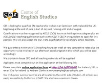 Summer Centre Teachers Required for CES - UK and Ireland