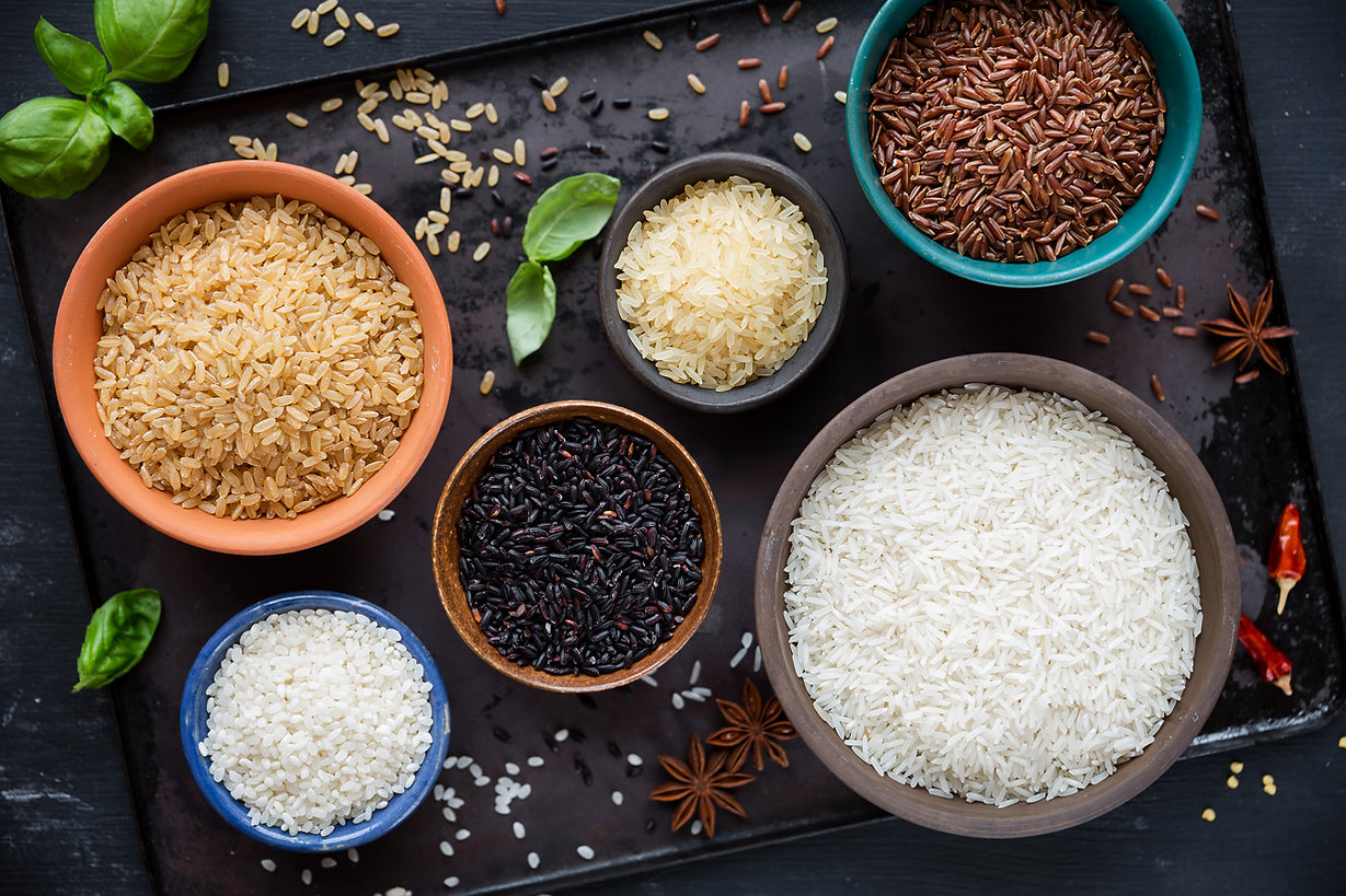 Variety of types and colours of rice - r