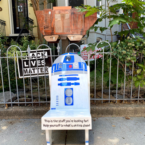 R2D2 Inspired Chair and Desert Crawler Little Free Library