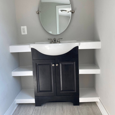 Half Bath Built in Shelves