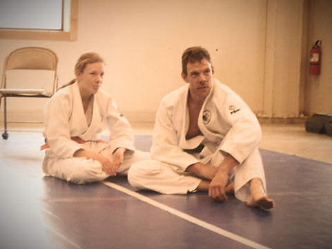 Darrell and Amory practice Judo