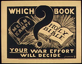 "Image depicting Mein Kampf and the Bible and saying ""your war effort will decide which book"""