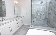 Bathroom with Glass shower and Décor Cabinets