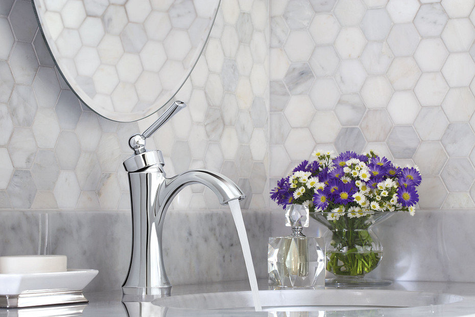 MOEN faucet and flowers