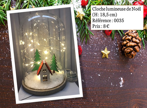Cloche lumineuse de Noël (H: 18,5 cm)